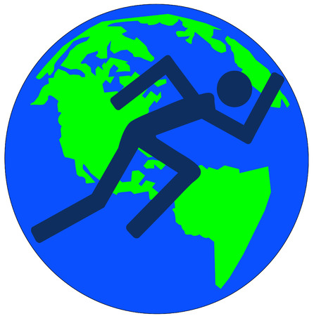 rushing: stick figure or man running acrossed earth or globe - vector