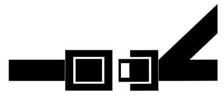cinturon seguridad: negro silueta de un cintur�n de seguridad - que indica a abrocharse el cintur�n - vector  Vectores