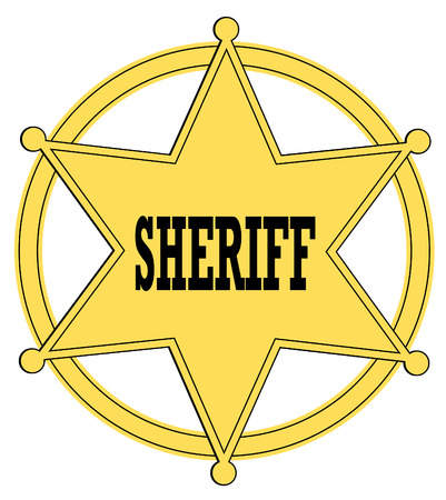 sheriff badge: estrella de oro insignia de sheriff del viejo oeste - vector  Vectores