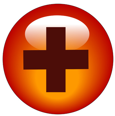 red first aid symbol web icon or button - vector Vector
