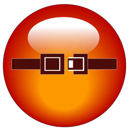 airport security: red seatbelt indicator web button or icon - vector