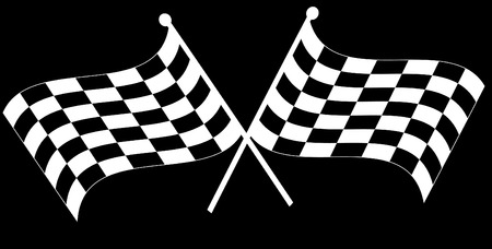 rallying: dos cruzaron ondeando en blanco y negro checkered banderas - vector