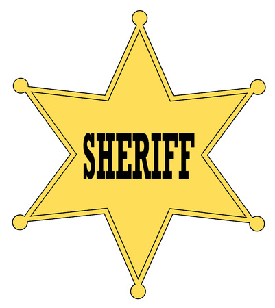 deputy sheriff: gold star sheriff badge from the old west - vector