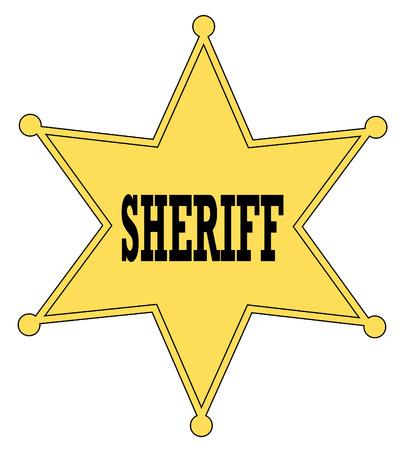 gouden ster: Gouden sterren sheriff badge van de oude west - vector