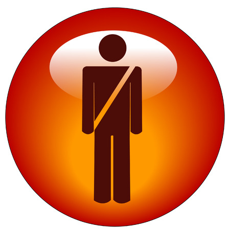red seatbelt figure sign web button or icon - vector Vector