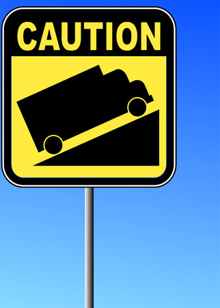 tell: yellow caution steep grade up sign with blue sky - vector