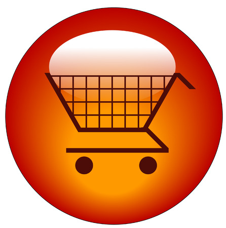 red shopping cart web button or icon - vector  Stock Vector - 3171976