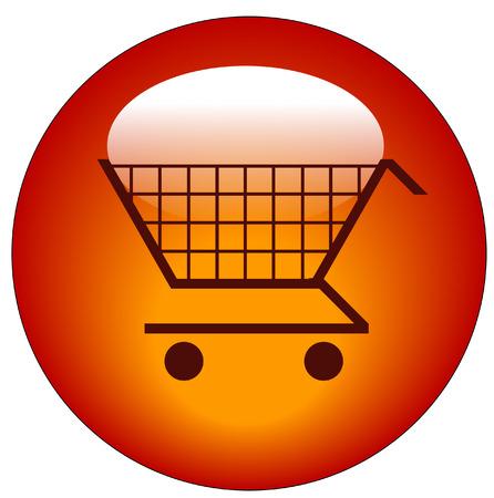 red shopping cart web button or icon - vector Stock Vector - 3171976