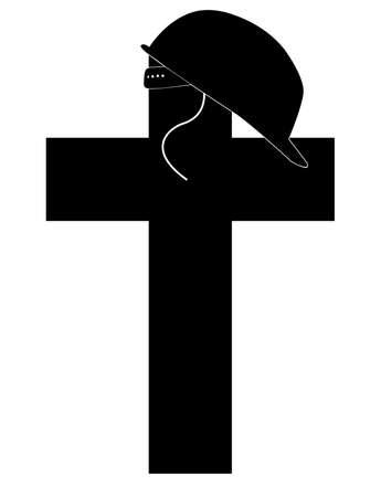 memorial cross: silueta del casco de los soldados sentado en la parte superior del monumento cruz - vector