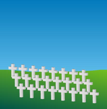 crosses commemorating dead soldiers in a meadow - vector Stock Vector - 3171977