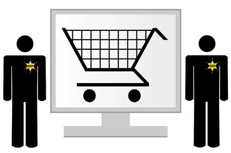 security monitor: computer monitor with security for online shopping - vector