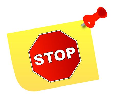 denunciation: stop sign on yellow thumb tacked note - vector