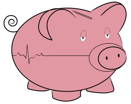 piggy bank with flatline  rhythm -  concept Vector