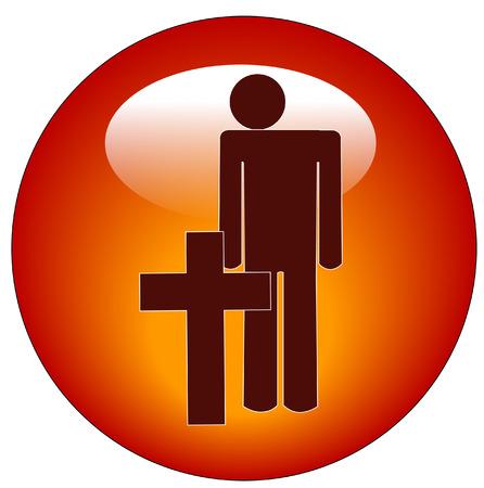 memorial cross: bastone l'uomo in piedi di fronte memoriale croce di guerra - vettore