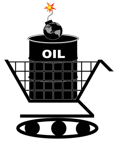 barrel bomb: oil barrel in shopping cart with earth as bomb - oil crisis concept - vector