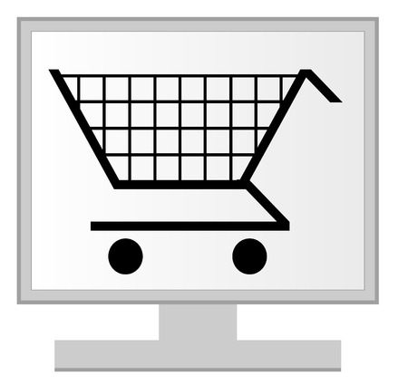 computer monitor with shopping cart on screen - online shopping concept - vector Vector