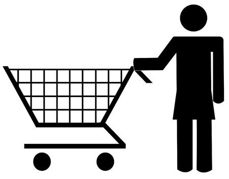 woman figure pushing shopping cart - vector illustration Stock Vector - 3176962