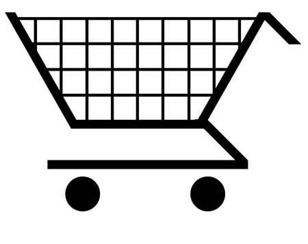 supermarket checkout: illustration of a black shopping t symbol - vector