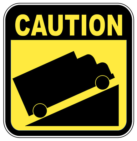 curb: yellow caution steep grade up sign - vector illustration Illustration