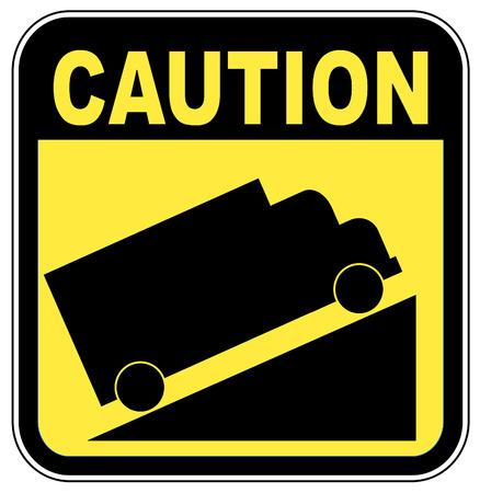 steep: yellow caution steep grade up sign - vector illustration Illustration