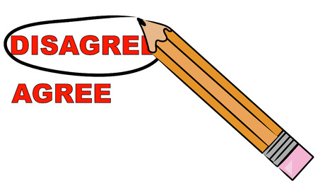 yes and no: pencil choosing to circle the word disagree - vector Illustration