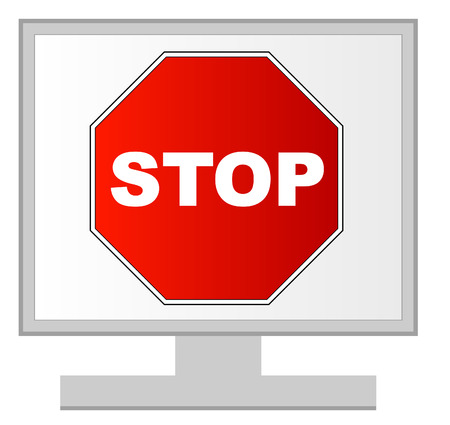 computer monitor with stop sign on screen - vector Vector