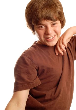 thirteen: attractive thirteen year old boy stretching out his arms Stock Photo