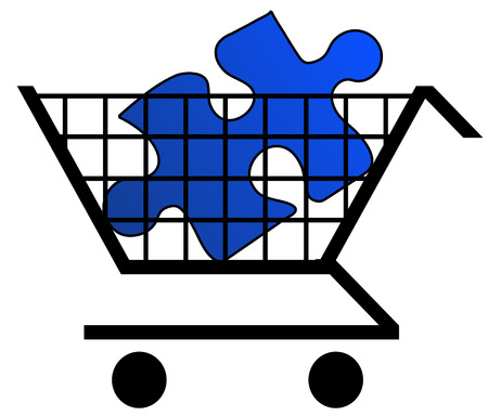 shopping cart holding blue puzzle piece  Stock Vector - 3256676