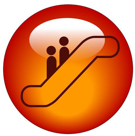 escalate: people riding on escalator web button or icon - vector