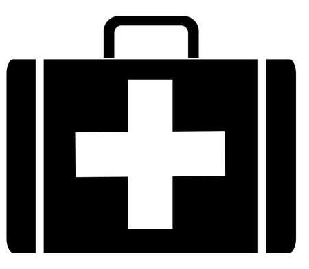 키트: black silhouette of a first aid case - vector illustration 일러스트