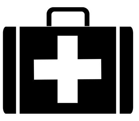 tool bag: black silhouette of a first aid case - vector illustration Illustration