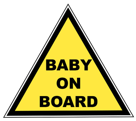forewarning: yellow sign with words -  on board - vector illustration Illustration