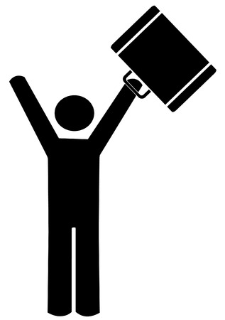 stick man or figure celebrating with briefcase up in the air - vector Vector