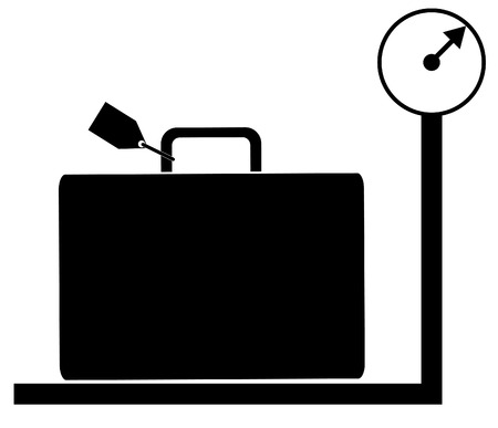 to weigh: luggage with tag sitting on weigh scales - illustration