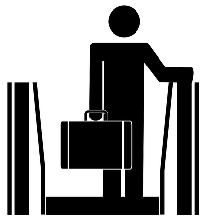 upstairs: business man riding up escalator carrying briefcase Illustration