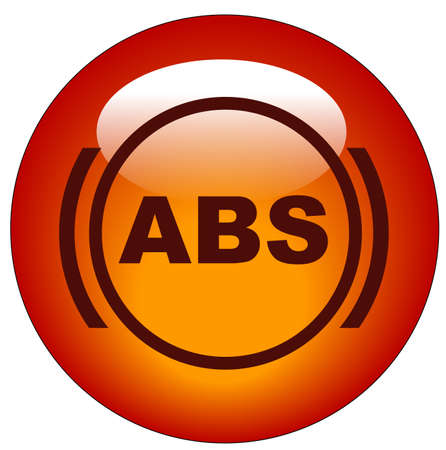 dashboard: red antilock braking system or ABS symbol web button or icon