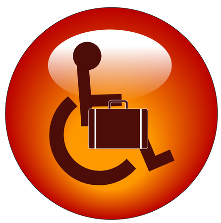 web button for handicap person in wheelchair carrying briefcase Illustration