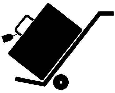 hand cart: silueta de la mano trolly o carro con las maletas en �l
