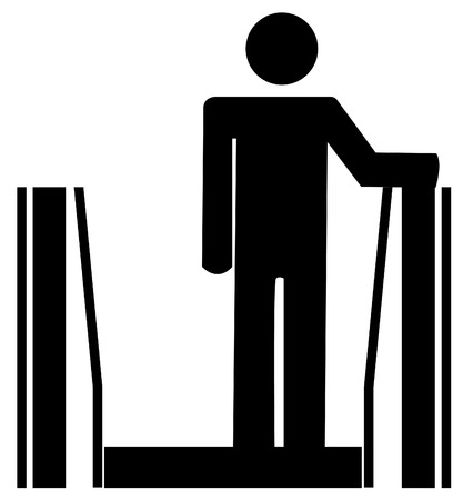 upstairs: stick man or figure riding up on and escalator Illustration