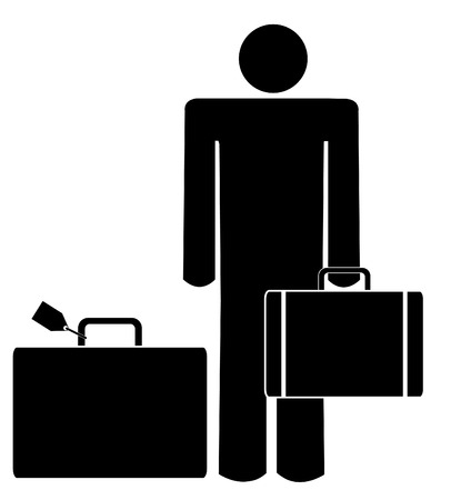 manager: stick man or figure with briefcase and luggage