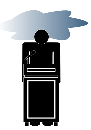 gloomy: stick man or figure at podium with storm cloud over his head