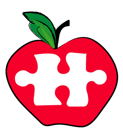 red apple with a piece of the puzzle missing - illustration Vector