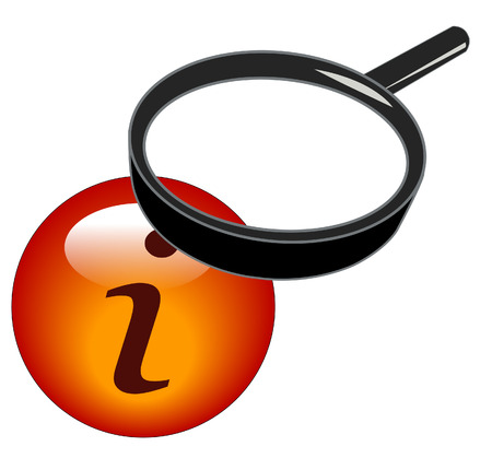 magnifying glass over top of information button Stock Vector - 3282482