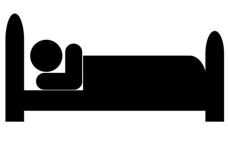 furnishing: silhouet van poppetje of figuur liggend in bed Stock Illustratie