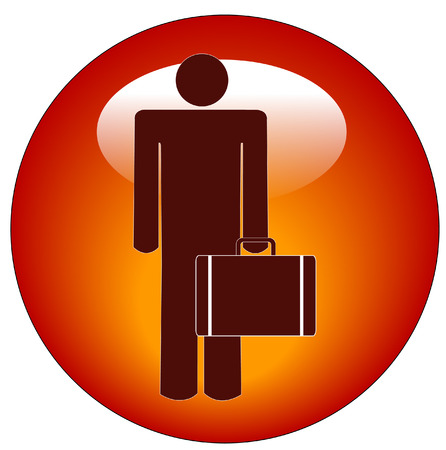 appointments: stick figure of woman standing holding a briefcase button or icon