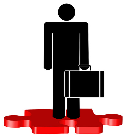 stick man or figure with briefcase standing on red puzzle piece Stock Vector - 3296229