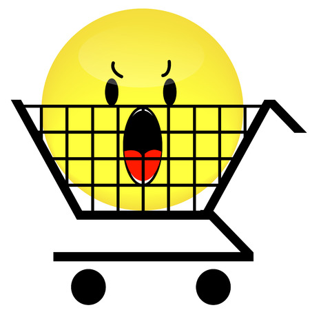 shopping cart with angry smiley face inside  Stock Vector - 3296223