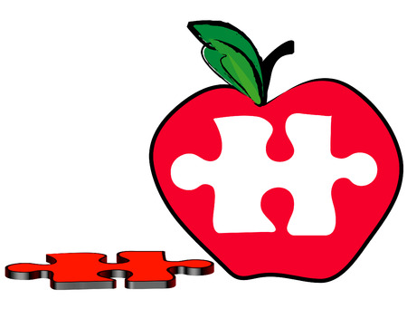 missing puzzle piece: red apple with a piece of the puzzle missing