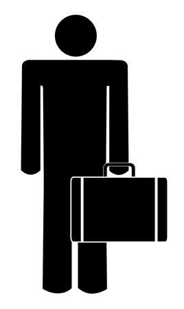 confident man: stick man or figure holding briefcase or suitcase