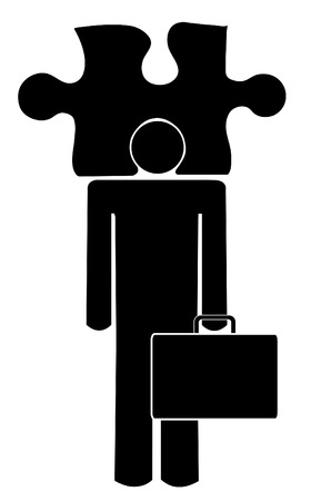 solver: business man with his head in a puzzle